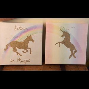 Unicorn canvas picture frame set